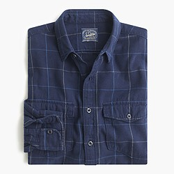 Midweight flannel shirt in heritage blue plaid