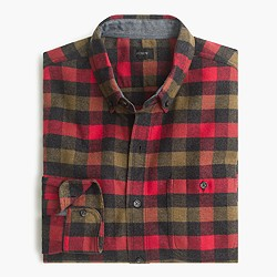 Cotton-wool elbow-patch shirt in warm red tattersall