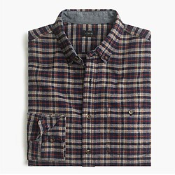 Cotton-wool elbow-patch shirt in vintage navy plaid