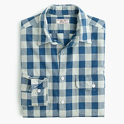Wallace & Barnes heathered Japanese indigo gingham workshirt