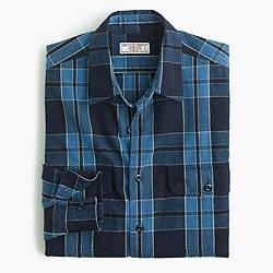Wallace & Barnes heathered Japanese indigo railworker shirt