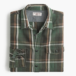 Wallace & Barnes heavyweight flannel shirt in gatehouse green