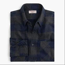 Wallace & Barnes midweight flannel shirt in heathered indigo buffalo check