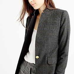 Petite black plaid Regent blazer with satin lapel