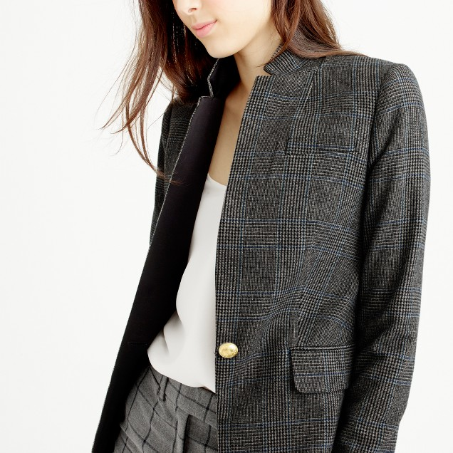 Black plaid Regent blazer with satin lapel