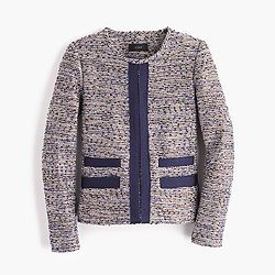 Petite metallic tweed jacket with grosgrain trim