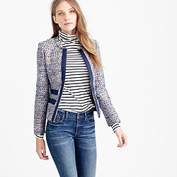 Metallic tweed jacket with grosgrain trim