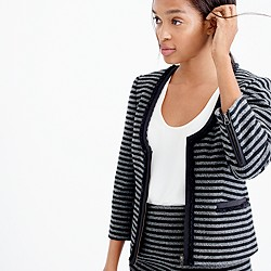 Striped tweed scoopneck jacket