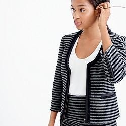 Striped tweed scoopneck jacket