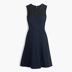 Colorblock dress with leather trim