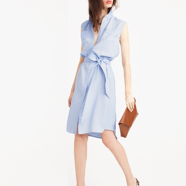 Petite belted oxford dress