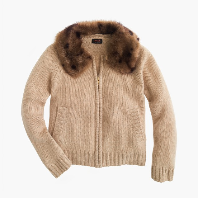 Girls' cashmere zip cardigan sweater with furry collar