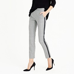 Petite Martie pant with tux stripe in glen plaid