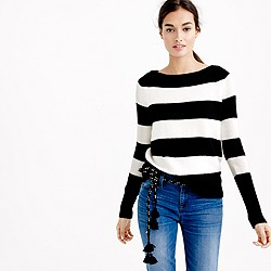 Wool boatneck sweater in stripe