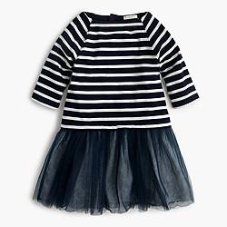 Girls' sweatshirt tulle dress in stripe