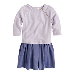 Girls' mixed-media sweatshirt dress