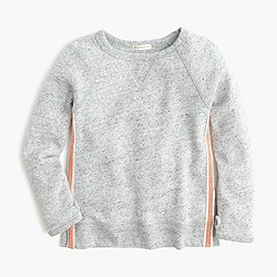 Girls' sparkle-striped fleece sweater