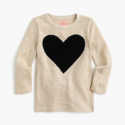 Girls' three-quarter-sleeve sparkly T-shirt with heart