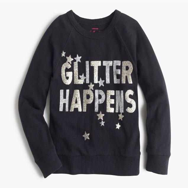 Girls' glitter happens sweatshirt
