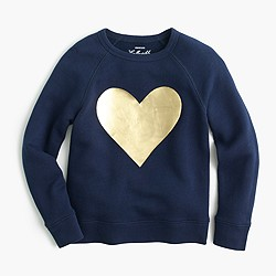 Girls' metallic heart sweatshirt