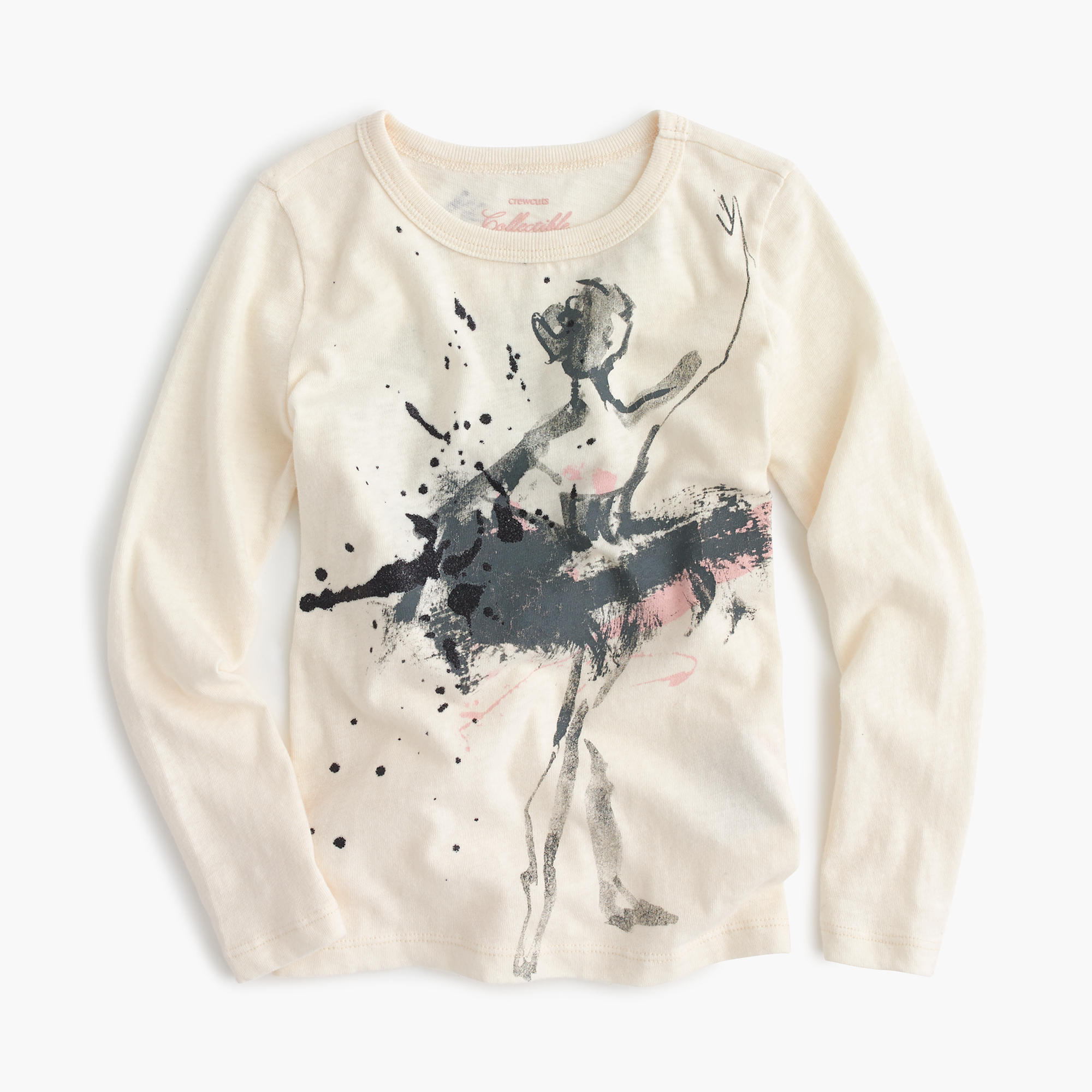 Girls' long-sleeve ballerina splatter T-shirt :