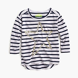 Girls' long-sleeve striped T-shirt with stone star