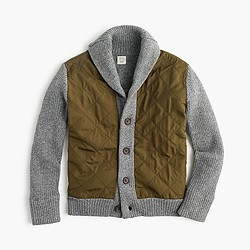 Boys' quilted front cotton sweater-jacket