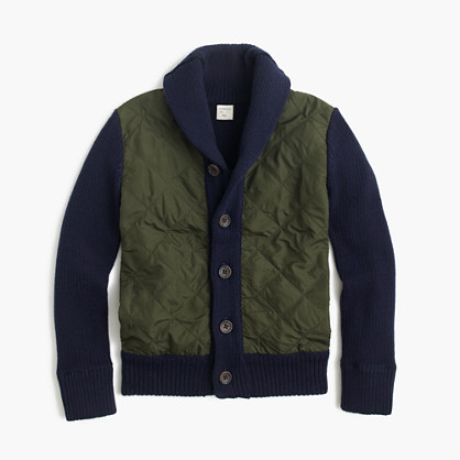 Boys' quilted-front cotton sweater-jacket