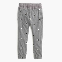 Girls' slim slouchy sweatpant in metallic stars