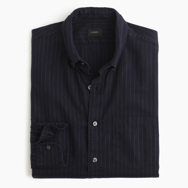 Brushed Heather Twill Shirt In Pinstripe J Crew
