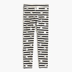 Girls' everyday leggings in glitter dot with stripe