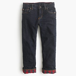 Boys' flannel-lined cozy jean in wrinkle rinse
