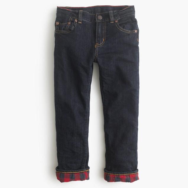 Boys' flannel-lined cozy jean in wrinkle rinse