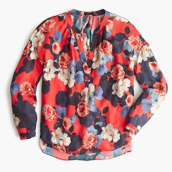 Collection silk blouse in graphic peony