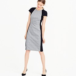 Plaid-front sheath dress