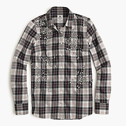Collection Thomas Mason® flannel shirt in embellished plaid