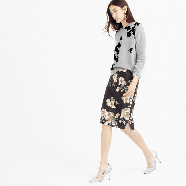 Collection pencil skirt in painterly floral