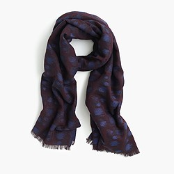 Jacquard scarf in cobalt leopard