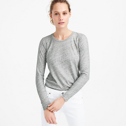 Vintage cotton long-sleeve T-shirt in metallic