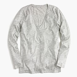 Vintage cotton long-sleeve V-neck T-shirt in metallic