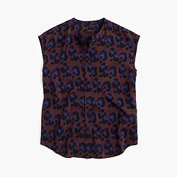 Silk blouse in cobalt leopard