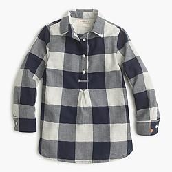 Girls' popover shirt in buffalo check