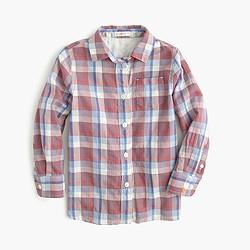 Girls' plaid button-down shirt