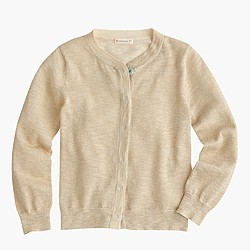 Girls' metallic cardigan sweater