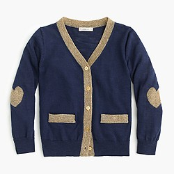 Girls' metallic-trim cardigan sweater