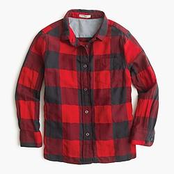 Girls' button-down shirt in buffalo check