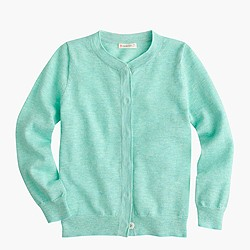 Girls' metallic cardigan sweater in mint