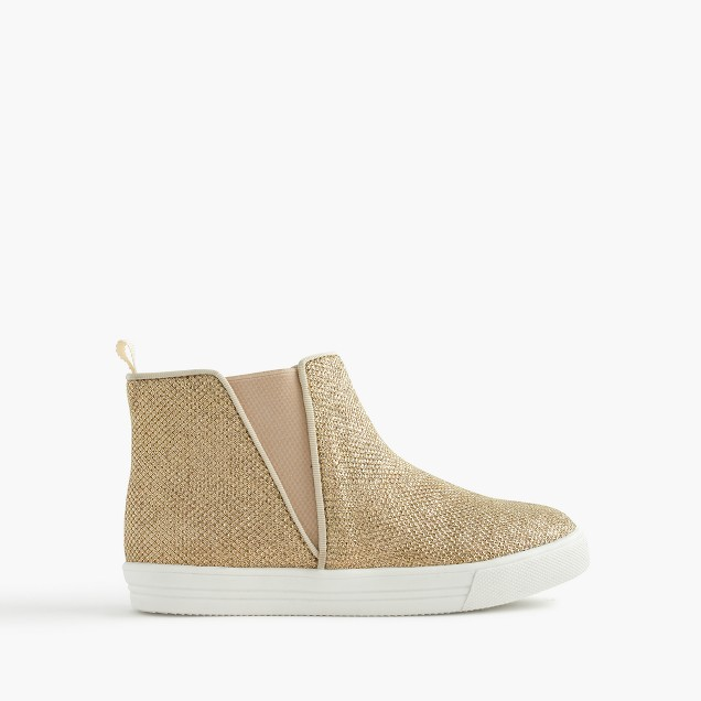 Girls' high-top pull-on sneakers in glitter