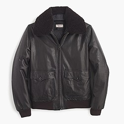 Wallace & Barnes sherpa-collar Italian leather G-1 flight jacket