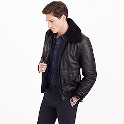 Wallace & Barnes sherpa-collar Italian leather G-1 flight jacket